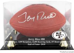 San Francisco 49ers Jerry Rice Hall of Fame Football Case - Mounted Memories