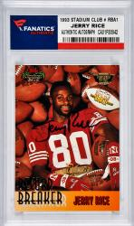 Jerry Rice San Francisco 49ers Autographed 1993 Topps Stadium Club Record Breakers #RBA1 Card Limited Edition