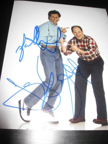 JERRY SEINFELD JASON ALEXANDER SIGNED 8x10 PHOTO SEINFELD PROMO COA AUTO RARE D