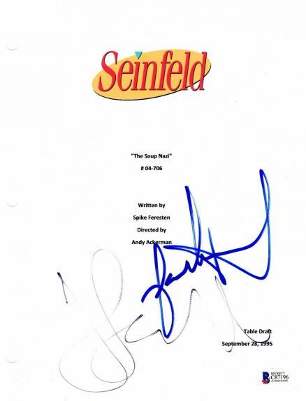 Jerry Seinfeld Jason Alexander Signed Autographed The Soup Nazi Full Script Bas