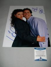 "JERRY SEINFELD & JULIA LOUIS-DREYFUS signed ""SEINFELD"" 11x14 PHOTO BECKETT COA!"