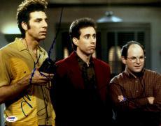 "Jerry Seinfeld, Michael Richards & Jason Alexander Autographed 11"" x 14"" Seinfeld: Group Shot Photograph - PSA LOA"
