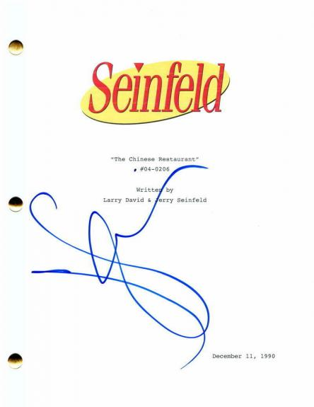 """Jerry Seinfeld Signed Autograph Seinfeld """"the Chinese Restaurant"""" Episode Script"""