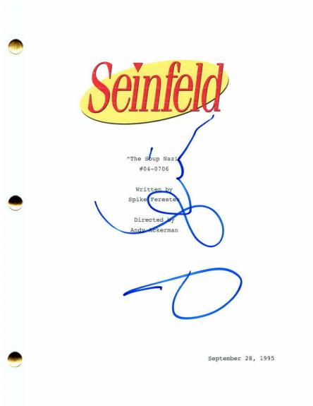 "Jerry Seinfeld Signed Autograph Seinfeld ""the Soup Nazi"" Full Episode Script"