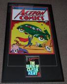 Jerry Siegel Signed Framed 29x51 Superman Poster & Death Of Comic Display JSA