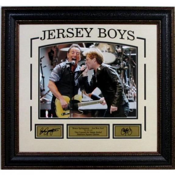 Jersey Boys - Bruce Springsteen and Bon Jovi with laser signatures framed