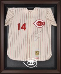 Cincinnati Reds Brown Framed Logo Jersey Display Case - Mounted Memories