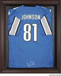 Detroit Lions Brown Framed Logo Jersey Display Case - Mounted Memories
