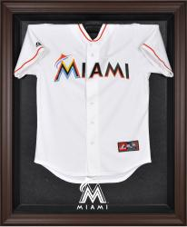 Miami Marlins Brown Framed Logo Jersey Display Case - Mounted Memories