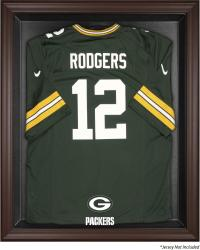 Green Bay Packers Brown Framed Logo Jersey Display Case - Mounted Memories