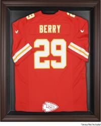 Kansas City Chief Brown Framed Logo Jersey Display Case