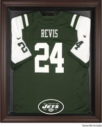 New York Jets Brown Framed Logo Jersey Display Case - Mounted Memories