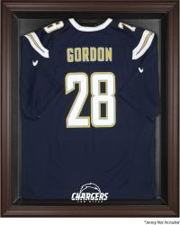 San Diego Chargers Brown Framed Logo Jersey Display Case