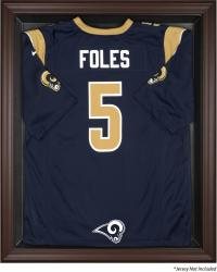 St. Louis Rams Brown Framed Logo Jersey Display Case - Mounted Memories