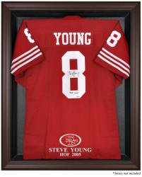 San Francisco 49ers Steve Young Hall of Fame 2005 Brown Framed Logo Jersey Display Case - Mounted Memories