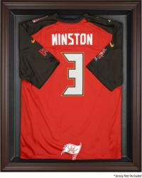 Tampa Bay Buccaneers Brown Framed Logo Jersey Display Case - Mounted Memories