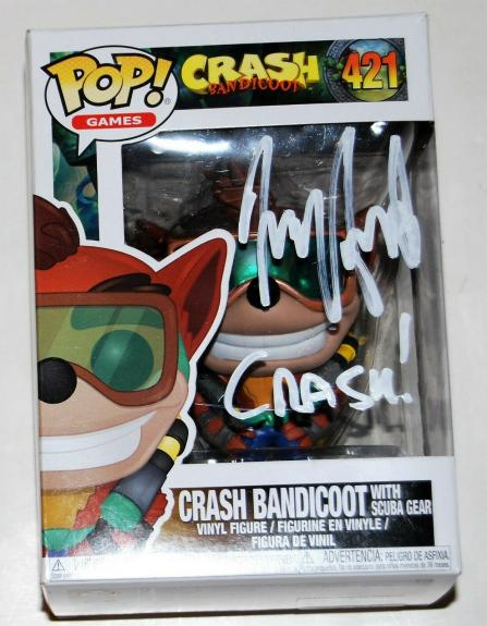 JESS HARNELL signed (CRASH BANDICOOT) autographed Funko pop #421 W/COA