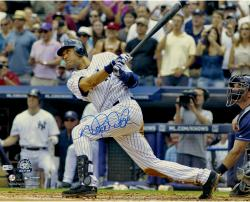 Derek Jeter New York Yankees Autographed 16'' x 20'' Horizontal 3000th Hit Swing Photograph - Mounted Memories