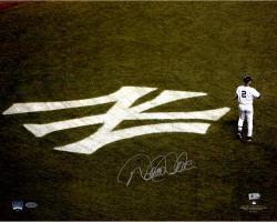 """Derek Jeter New York Yankees Autographed 16"""" x 20"""" NY Emblem Photograph"""