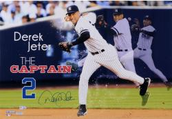 Derek Jeter New York Yankees Autographed 14'' x 20'' Panoramic The Captain Collage - Mounted Memories