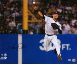 "Derek Jeter New York Yankees Autographed 16"" x 20"" Jump Throw Photograph"