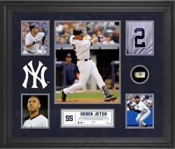 Derek Jeter New York Yankees Framed 5-Photo Collage with Piece of Game-Used Ball