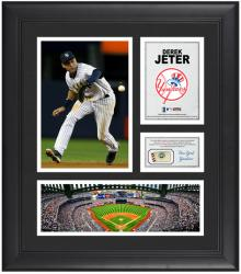 "Derek Jeter New York Yankees Framed 15"" x 17"" Collage with Game-Used Baseball - Mounted Memories"