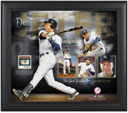 "Derek Jeter New York Yankees Framed 15"" x 17"" Collage with Game-Used Ball-Limited Edition of 500 - Mounted Memories"