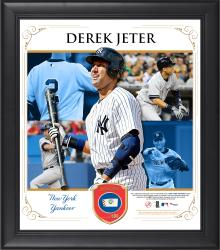 Derek Jeter New York Yankees Framed 15'' x 17'' Collage with Piece of Game-Used Ball - Mounted Memories