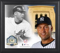 Derek Jeter New York Yankees Framed 15'' x 17'' Mosaic Collage with Game-Used Baseball-Limited Edition of 250 - Mounted Memories