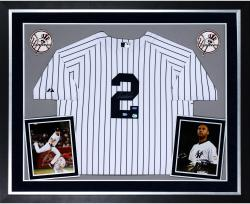 Derek Jeter New York Yankees Autographed Deluxe Framed Majestic Authentic Jersey