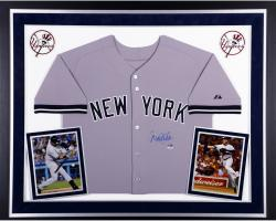 Derek Jeter New York Yankees Autographed Deluxe Framed Majestic Authentic Road Jersey