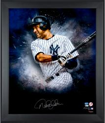 Derek Jeter New York Yankees Framed Autographed 20'' x 24'' In Focus Photograph with Multiple Inscriptions - - Mounted Memories