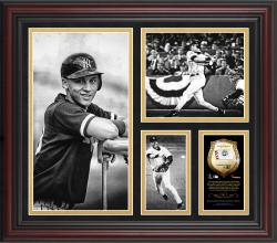 Derek Jeter New York Yankees Framed 15'' x 17'' B&W Composite with Piece of Game-Used Ball-Limited Edition of 500 - Mounted Memories