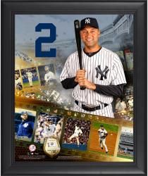 Derek Jeter New York Yankees Framed 16'' x 20'' Film Strip Composite with Piece of Game-Used Ball-Limited Edition of 500 - Mounted Memories