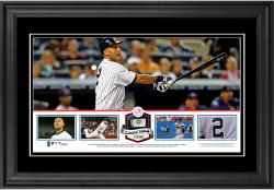 Derek Jeter New York Yankees Framed Panoramic with Piece of Game-Used Ball - Limited Edition of 500