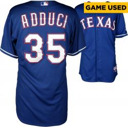 Jim Adduci Texas Rangers Game Used Blue Jersey from 4/8/14 vs Boston Red Sox