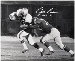 Jim Brown Cleveland Browns Autographed 16'' x 20'' B&W Tackled Photograph with HOF 71 Inscription