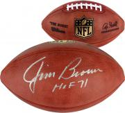 Jim Brown Cleveland Browns Autographed Duke Football with HOF 71 Inscription
