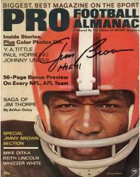 """Jim Brown Cleveland Browns Autographed 56 Page Bonus Preview On Every NFL, AFL Team Pro Football Almanac Magazine with """"HOF 71"""" Inscription"""