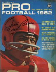 """Jim Brown Cleveland Browns Autographed """"Incomparable Jim Brown Pro Ball's Greatest Petersen's Pro Football Magazine with """"HOF 71"""" Inscription"""