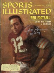 """Jim Brown Cleveland Browns Autographed Secrets of a Fullback Sports Illustrated Magazine with """"HOF 71"""" Inscription"""