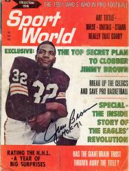 """Jim Brown Cleveland Browns Autographed The 1964 Who's Who in Pro Football Sport World Magazine with """"HOF 71"""" Inscription"""