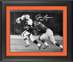 """Jim Brown Cleveland Browns Framed Autographed 16"""" x 20"""" Black & White Tackled Photograph with HOF 71 Inscription"""