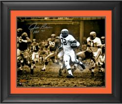 """Jim Brown Cleveland Browns Framed Autographed 16"""" x 20"""" Spotlight Photograph with HOF 71 Inscription"""