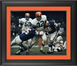 """Jim Brown Cleveland Browns Framed Autographed 16"""" x 20"""" vs Minnesota Vikings Photograph"""