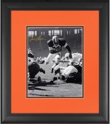 "Jim Brown Cleveland Browns Framed Autographed 8"" x 10"" Vertical Touchdown Dive Photograph"