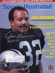 """Jim Brown Oakland Raiders Autographed You Serious; A Comeback at 47; Sports Illustrated Magazine with """"HOF 71"""" Inscription"""