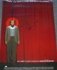 Jim Carrey Signed Andy Kaufman Man on the Moon Poster PSA/DNA COA 1999 Autograph