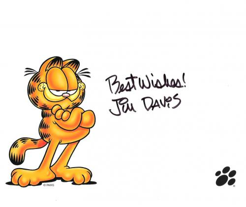 """JIM DAVIS - Best Known as the Creator of COMIC STRIP """"GARFIELD"""" Signed 10x8 Color Photo"""